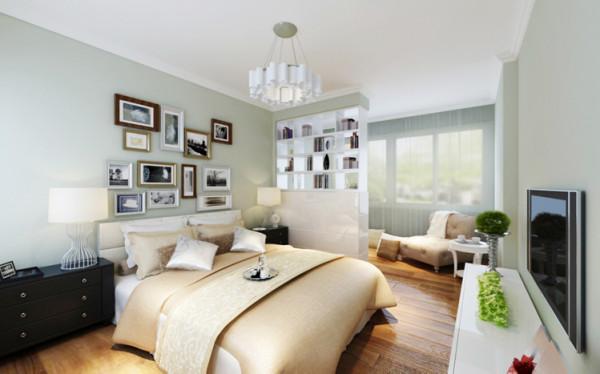 森女情调的家居,通常会用大面积淡绿色作为大背景,搭配清爽的白色家具,木质地板,营造多层次视觉效果。卧室阳台位置单独隔出书房休闲区,森女文艺气息满溢。