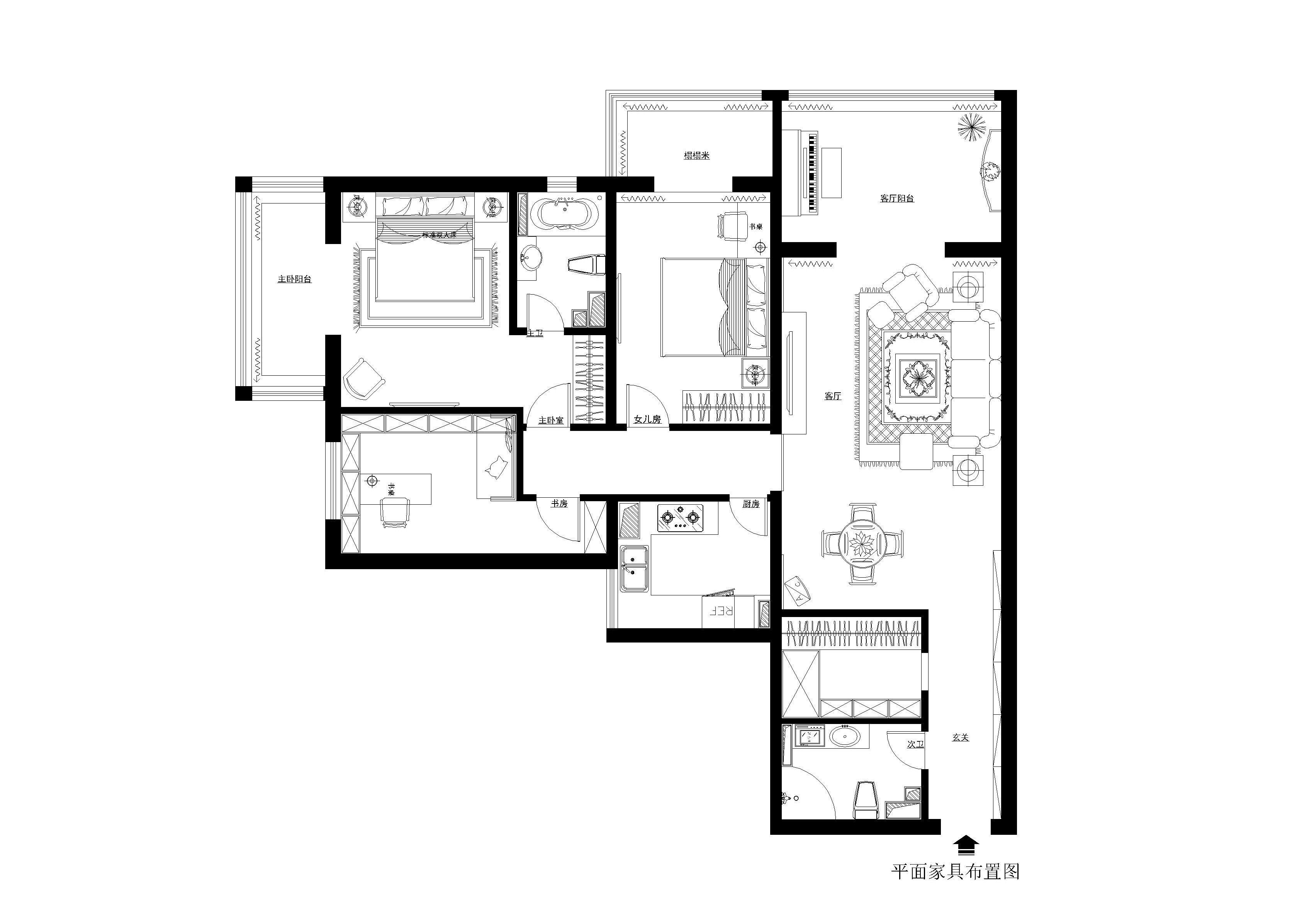 刘杨 刘杨成 户型图图片来自交换空间刘杨成室内设计师在152平雅致大三居的分享