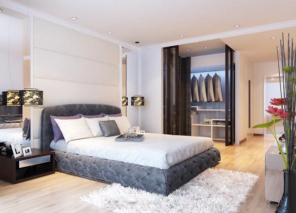 建研院120平米户型主卧室效果图展示