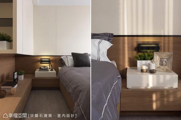 全木作规划的主卧房里,设计师运用上吊柜,以及接续床架设计的平台下方,安排衣物收纳机能。