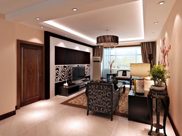 客厅是一套房子的中心位置,也是装修过程是的重点。这里以黑白搭配,在稳重的同时,又体现出时尚的味道。通过吊顶与地面地砖的拼花分隔出明显的客厅的空间。方方正正!