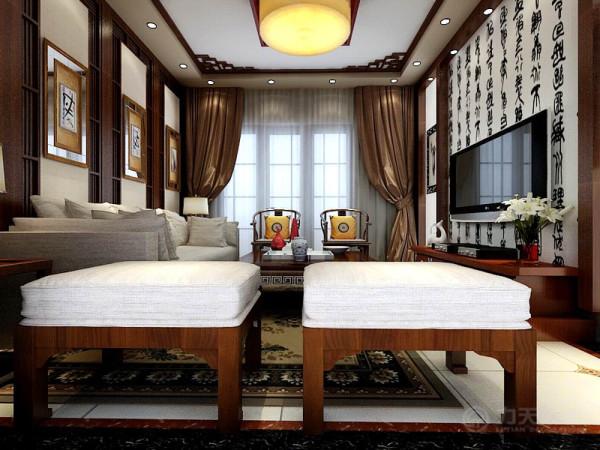本案例紫熙臺一期洋房1号楼标准层B户型2室2厅1卫1厨 88.00㎡围绕新中式风格为主题。