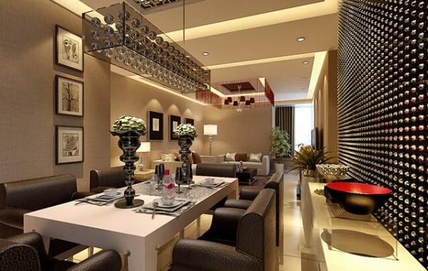 餐厅的设计上引用的独特的背景墙,餐厅简洁的造型、纯洁的质地、精细的工艺,统统都体现了出来。