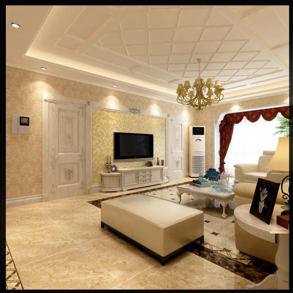 富力又一城三居室户型电视背景墙效果图展示