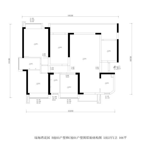 绿海湾花园 B座03户型和C座01户型图原始结构图 5房2厅2卫 166平