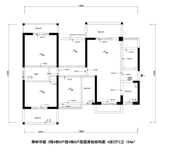 翠岭华庭 3栋4栋D户型4栋A户型图原始结构图 4房2厅2卫 154m²