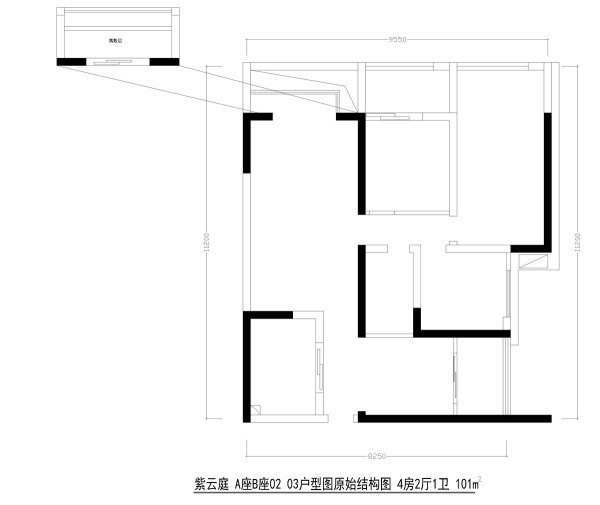 紫云庭A座B座02 03户型图原始结构图 4房2厅1卫 101m²
