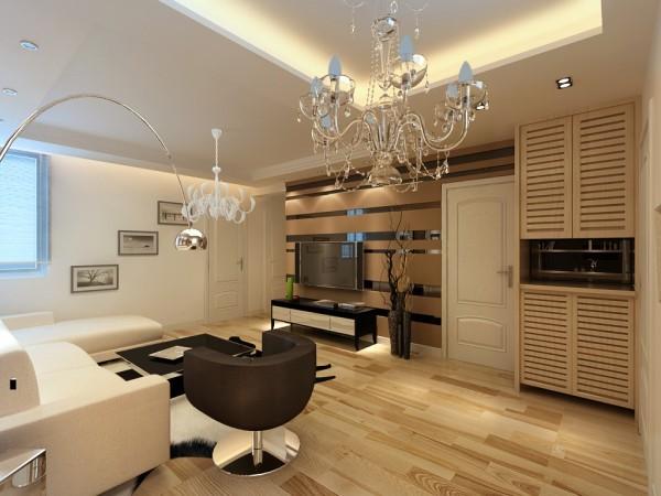 电视背景墙以几何线条与素净白净营造简约的观感。材质、色彩、质地、细节的处理为空间注入了时尚、自然的气息。得当的家具、事宜的装饰品、浪漫的灯饰,在真是室内的同时又给室内增添了几分艺术和优雅的氛围。