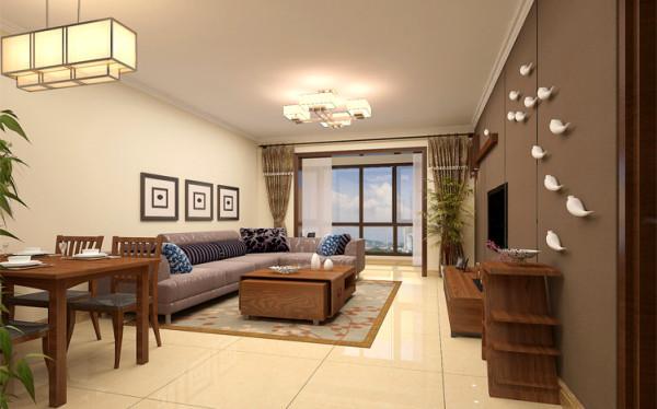 设计理念:现代格调与中式元素的相互融合,着实让人心动。将清新自然稳重的风格演绎的活灵活现。简洁的线条、明快的色彩,传统的木质家具和现代布艺沙发的搭配消除了空间与人的距离感,显得亲和力十足!