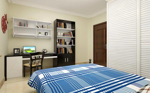设计理念:嫩黄绿色的墙面和蓝色方格床品与之呼应,黑白搭配的书桌与之对比,而白色衣柜是蓝色最为清爽的搭配,一组照片和时尚挂钟装饰,给空间添趣的同时带来学习的动力。