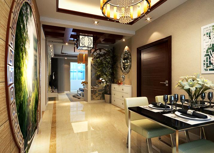 新中式风格 三居 婚房装修 餐厅图片来自实创装饰上海公司在新中式婚房装修温馨大气不老气的分享