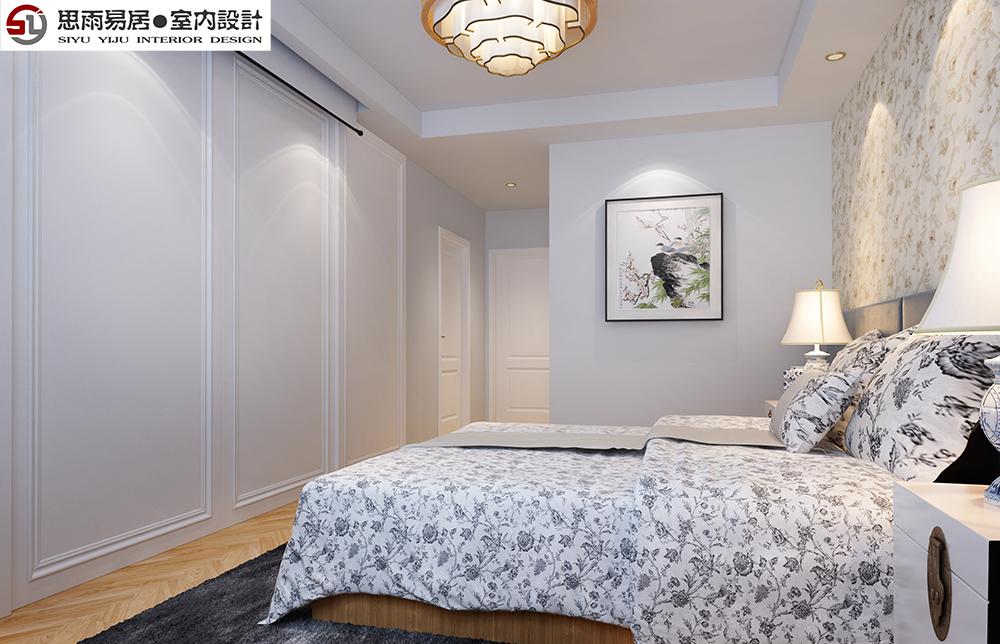 简约 三居 80后 小资 新中式 卧室图片来自思雨易居设计在领秀翡翠山B2户型185平米设计图的分享