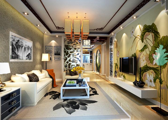 新中式风格 三居 婚房装修 客厅图片来自实创装饰上海公司在新中式婚房装修温馨大气不老气的分享