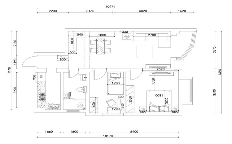 美式风格 两居 静安区装修 80后 小资 户型图图片来自实创装饰上海公司在100平简约清新美式小家的分享