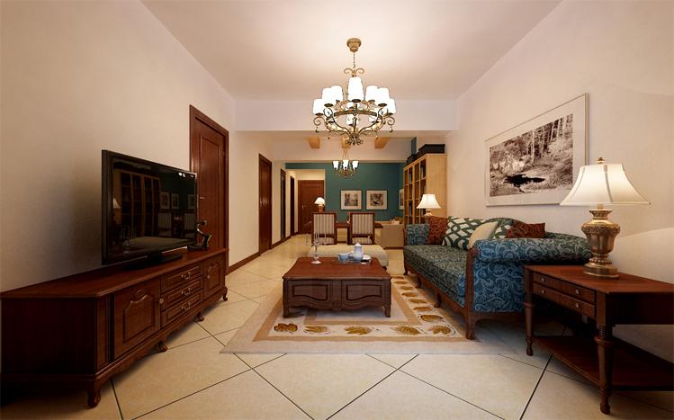 美式风格 两居 静安区装修 80后 小资 客厅图片来自实创装饰上海公司在100平简约清新美式小家的分享