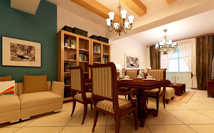 美式风格 两居 静安区装修 80后 小资 餐厅图片来自实创装饰上海公司在100平简约清新美式小家的分享