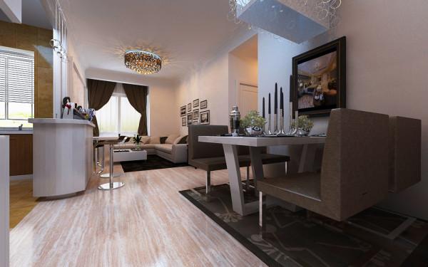 20平米的客厅,简单的划分出客厅和餐厅,满足了功能上的使用,墙面,顶面白色乳胶漆饰面增加整体空间感,地面米色系瓷砖增添空间的温馨感