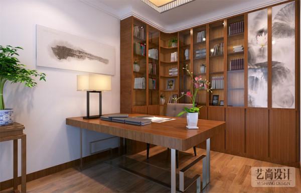轻工业学院家属院三室两厅130平设计方案,书房实木书桌造型设计。原始的颜色是最真实的色彩。