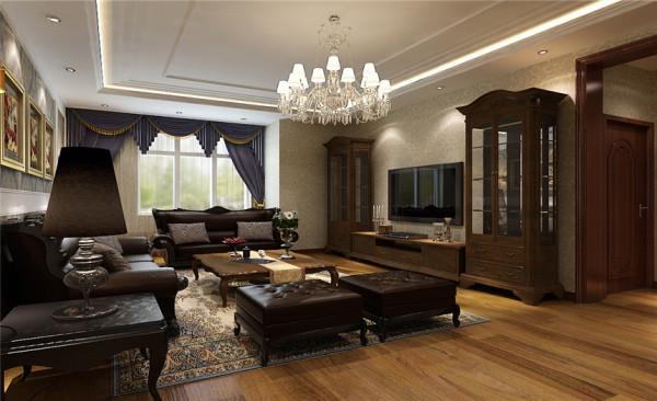 客厅设计: 家居自由随意、简洁怀旧、实用舒适;暗棕、土黄为主的自然色彩;欧洲皇室家具平民化、古典家具简单化;家具宽大、实用舒适