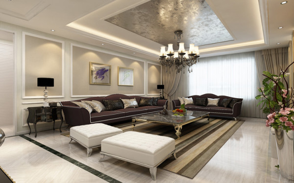 客厅的空间既是休闲也是休息的空间,在保证后现代的奢华质感的同时,设计师通过简洁的装饰设计,在同色系中调整了色彩的明度,以素雅的色彩给人以舒心愉悦感受。