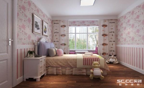 卧室设计: 玩偶活跃着空间气氛。装饰画与粉色的壁纸增添着房间的色彩,彰显了小孩子天真可爱的个性。