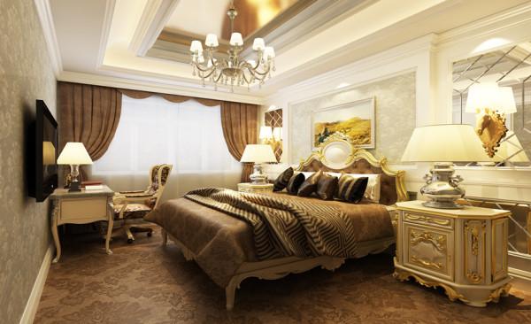 墙面的造型不会使得卧室和客厅的装修风格脱节,而卧室却不适合张扬的感觉,搭配木质的护墙板则是非常好的选择。纱帘的轻巧和浅咖啡色的窗帘以及凹凸有致的床头墙造型壁纸,让卧室空间更加柔和