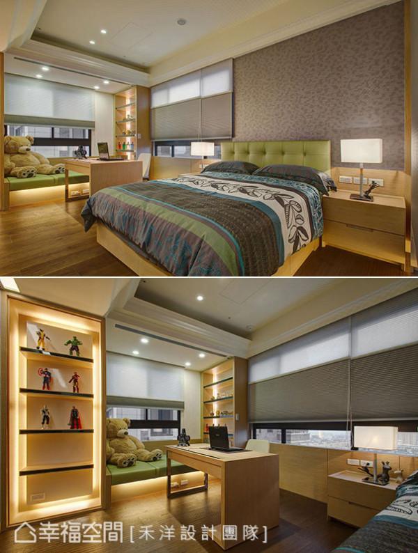 现代简约风格的男孩房,除了具备展示收藏的柜体设计,禾洋设计另安排可电动升降的卧榻,拓增书桌使用尺度。