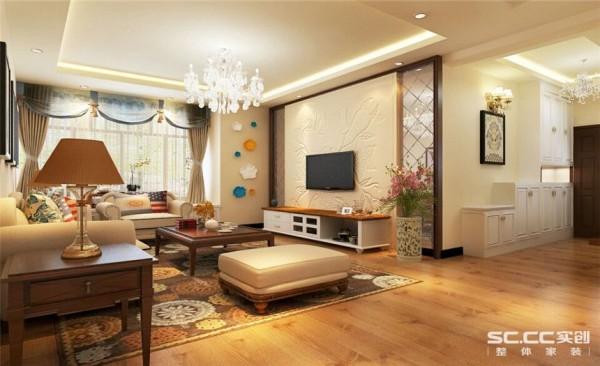 客厅设计: 客厅是主人主要活动场所,在灯具选用上选取了水晶吊灯和和回形吊顶,突出线条感,客厅电视背景墙采用石膏造型,让线条感淋漓精致的体现,符合主人的审美情趣。