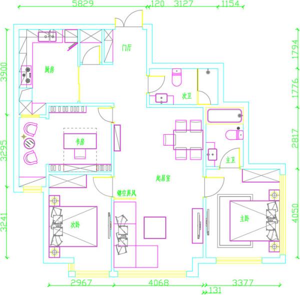 soho现代城二居室户型改后平面布置图展示