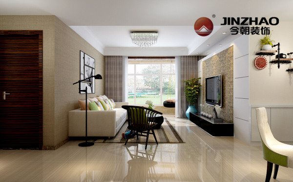 在设计中摒弃着复杂的造型。柔和的家装色调,形成一种清新淡雅的家居色彩组合。