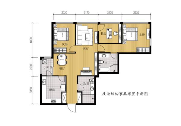 SOHOU现代城三居室户型改后家具平面布置图展示