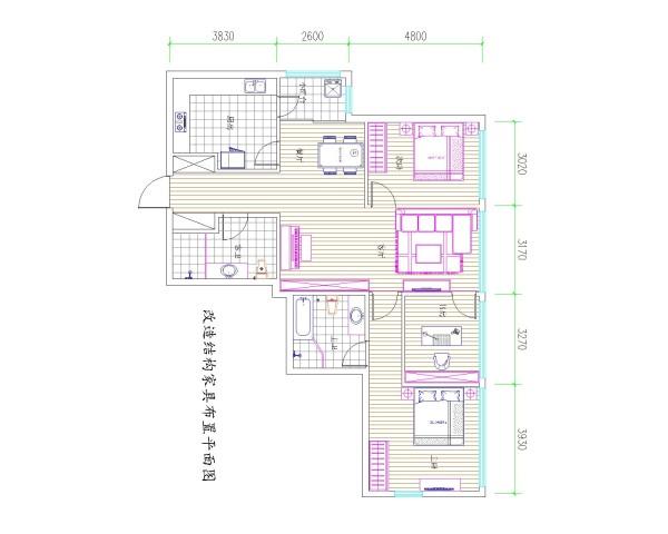 SOHOU现代城三居室户型改后平面布置图展示