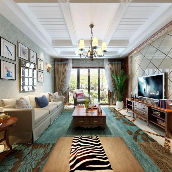 在室内的造型装饰上只采用大面积的材质来表现。电视墙石材上墙,墙面贴条纹墙纸,简洁大方,卧室和沙发背景的饰面板抹色造型,让整个室内的材质运用上形成对比,迎合出简美风格温馨舒适、浪漫惬意的感觉。