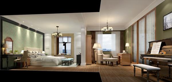 卧室的设计大气奢华 温馨浪漫十足各式各样的装饰摆件令搁物架区域充实而饱满,设计师用独特的手法表现了空间的规整性与美式乡村的浓郁色