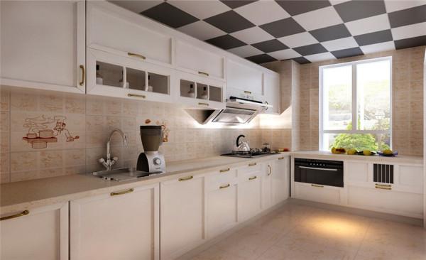 厨房设计: 设计过程中厨房,采用暖和的色调,同时应用了白色的橱柜,除了厨房的必需品以外,几乎无多余装饰、 复古的瓷砖,白色的橱柜繁复而清新的木纹加上一些现代感觉的吊顶,无不流露出欧式文化的气质