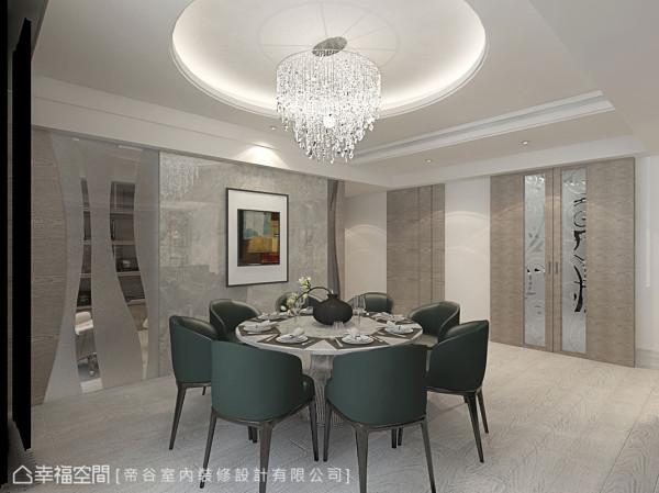 厨房门片以及书房墙面皆缀以造型夹纱玻璃,营造隐约多变的层次视野。 (此为3D合成示意图)