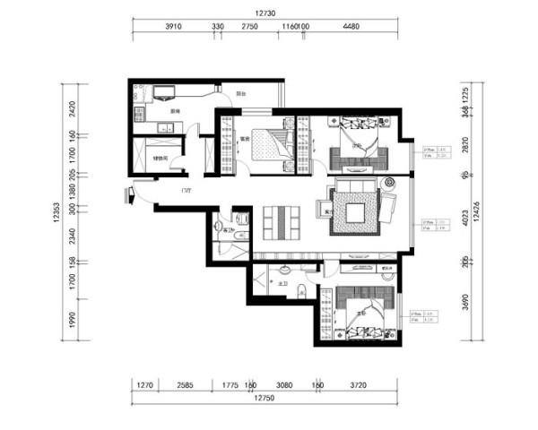 soho现代城三居室(146平)欧式风格平面布置图展示