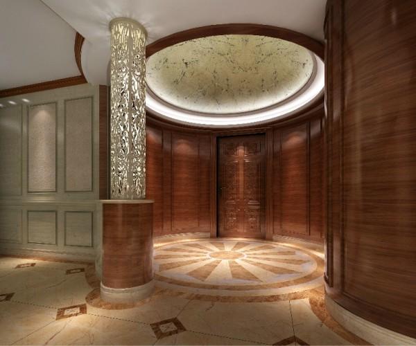 """从大门进来,圆形的门厅,门厅是给人第一印象的地方,是反映主人文化气质的""""脸面""""。住宅内外的一个过渡和缓冲空间。这是一个设计的重点之经典,从风水学上讲,这是一聚凝聚力量的核心源泉,"""