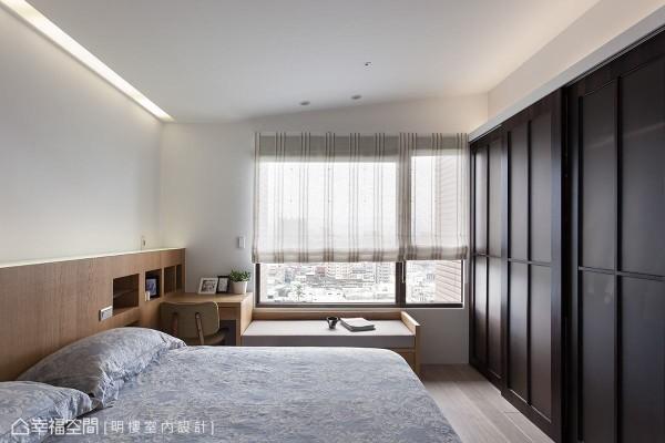 床头灯隐藏在床头板内,让灯光无法直射眼睛,营造柔和又舒适的休憩环境。