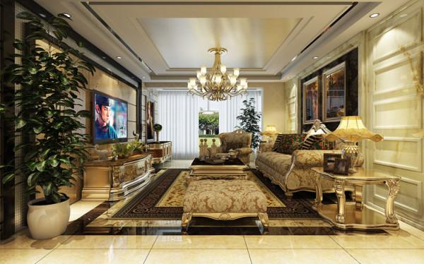 设计理念:客厅的空间讲究对称且 划分简单合理,给了主人们更充裕的自由活动空间亮点:统一的暖色调给人以温馨舒适的感觉,奢华高调的欧式家具、吊灯及壁画定义了客厅的整体格调--温馨,奢华。