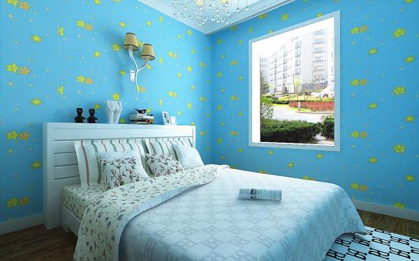 设计理念:设计师将此儿童房打造为一个梦想空间,清新亮丽的颜色营造了儿童天真活泼的氛围,儿童房墙面壁纸上的星星,使整个空间活泼可爱。衣柜和床的造型相呼应。
