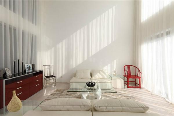 全白的客厅为了让其凸显出夏日的活泼气氛,装点上一点红色、黄色是必不可少的,在这个空间里,尽量少的运用大面积色块,让极少部分的活跃色彩跳跃出来。