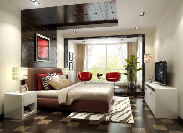 设计理念:床头背景墙与吊顶相结合,使整个空间更为和谐,并设计了一个休闲地台,为主人提供一个使身心放松的境地。