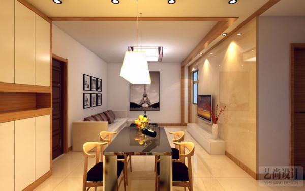 升龙城3室2厅1卫89平方户型效果图设计方案,仔细看电视墙面发亮,采用进口意大利木纹石材,来装饰墙面。