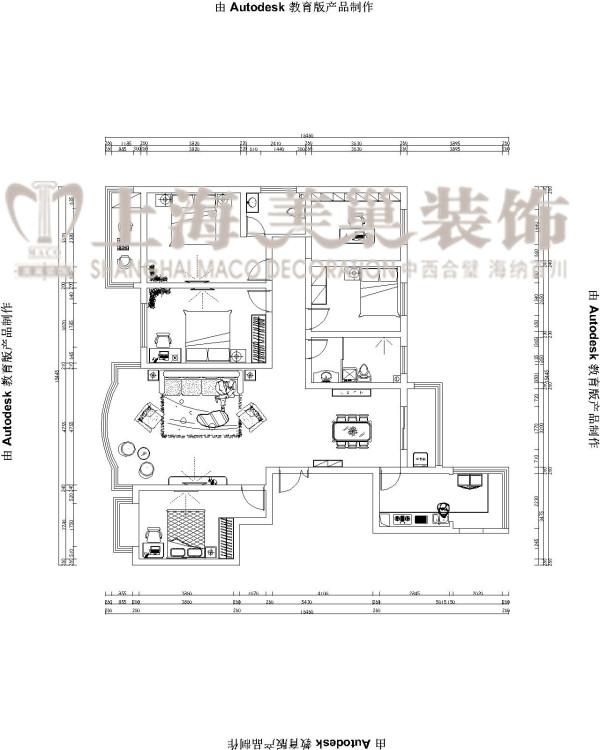 民安北郡9号楼169平五室两厅客厅装修户型图