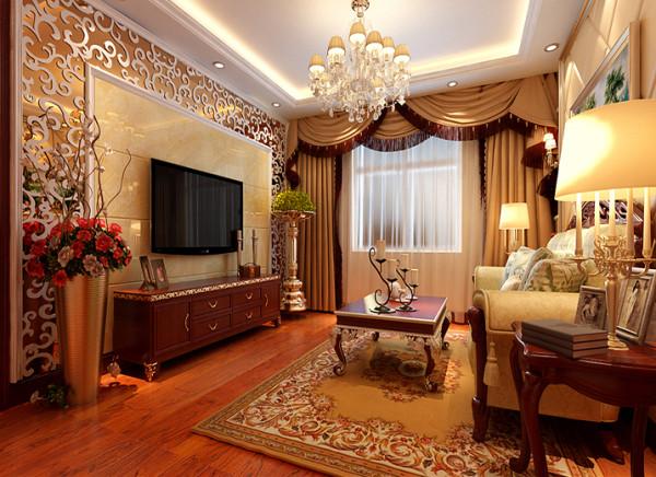 低调奢华繁而不锁。 亮点:客厅主要以背景墙为核心,米色的大理石做低衬,周边以木雕为衬托,体现大气之感,木雕后利用金茶镜做底衬起到拉伸整个空间使得客厅更加明亮开阔