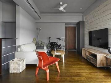 100平阁楼单身男士灰色简约公寓