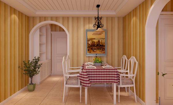 餐厅设计: 餐厅的布局以简单明了为主题,布置了白色的餐桌椅和特色的吊顶。所有的墙面以墙纸显现,与主题视觉对应,而其生动的装饰画,使用餐区弹性变化成为宴请的空间