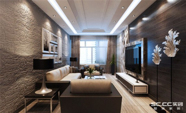 客厅设计: 整体以深色调为主,营造了一种低调奢华的氛围。