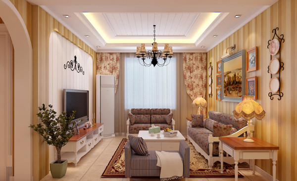 客厅设计: 客厅的电视墙,以圆拱型造型处理,加以石膏板拉缝搭配,田园风格的碎花布艺沙发的陪衬,增加了自然的氛围。铁艺的壁挂及田园风格的墙壁钟让整个空间充分发挥田园风格,并达到画龙点睛之效。